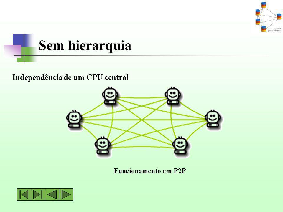Sem hierarquia Funcionamento em P2P Independência de um CPU central