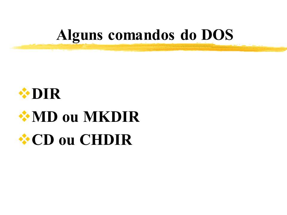 Alguns comandos do DOS DIR MD ou MKDIR CD ou CHDIR