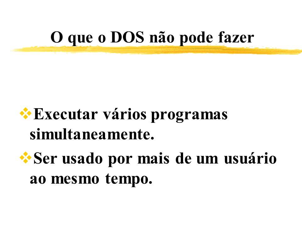 O que o DOS não pode fazer Executar vários programas simultaneamente. Ser usado por mais de um usuário ao mesmo tempo.