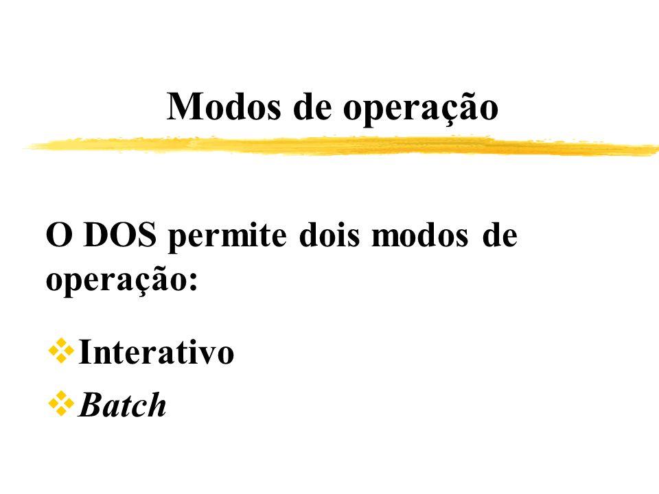 Modos de operação O DOS permite dois modos de operação: Interativo Batch