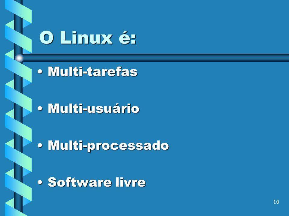 10 O Linux é: Multi-tarefasMulti-tarefas Multi-usuárioMulti-usuário Multi-processadoMulti-processado Software livreSoftware livre
