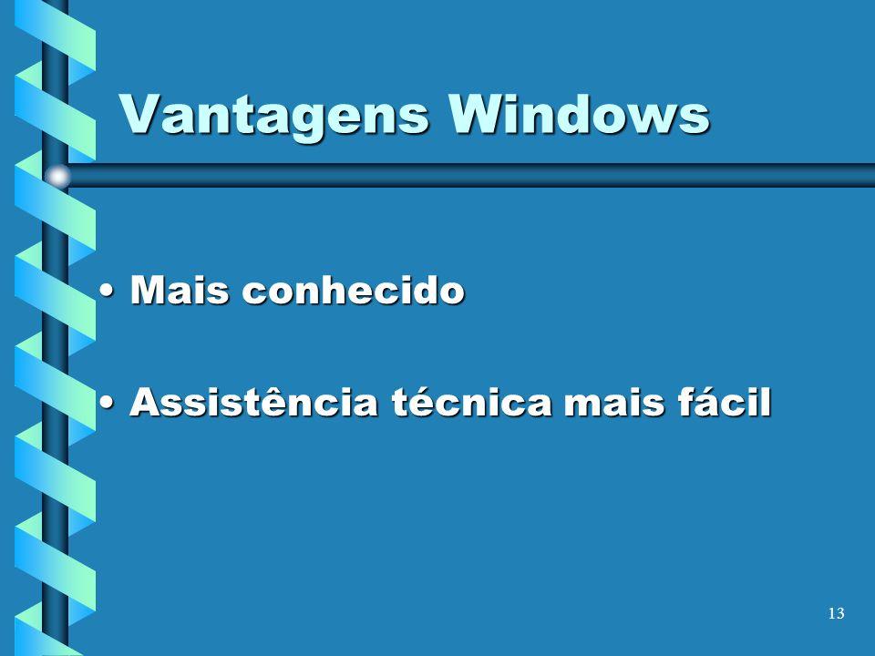 13 Vantagens Windows Mais conhecidoMais conhecido Assistência técnica mais fácilAssistência técnica mais fácil