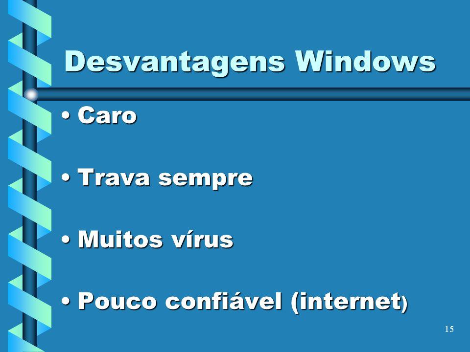 15 Desvantagens Windows CaroCaro Trava sempreTrava sempre Muitos vírusMuitos vírus Pouco confiável (internet )Pouco confiável (internet )