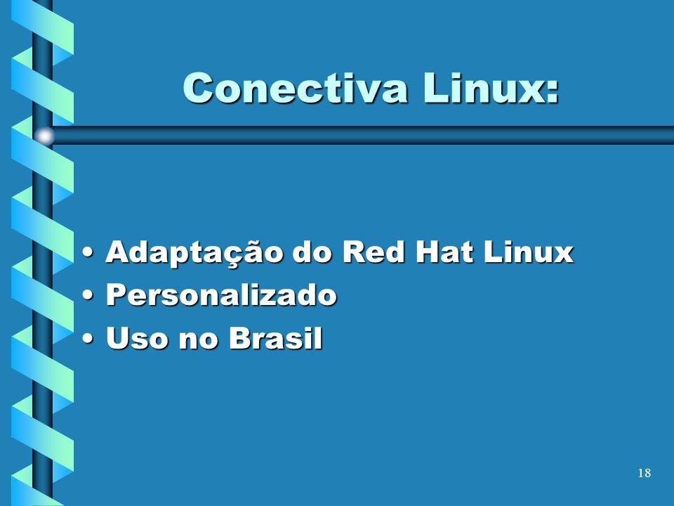 18 Conectiva Linux: Adaptação do Red Hat LinuxAdaptação do Red Hat Linux PersonalizadoPersonalizado Uso no BrasilUso no Brasil