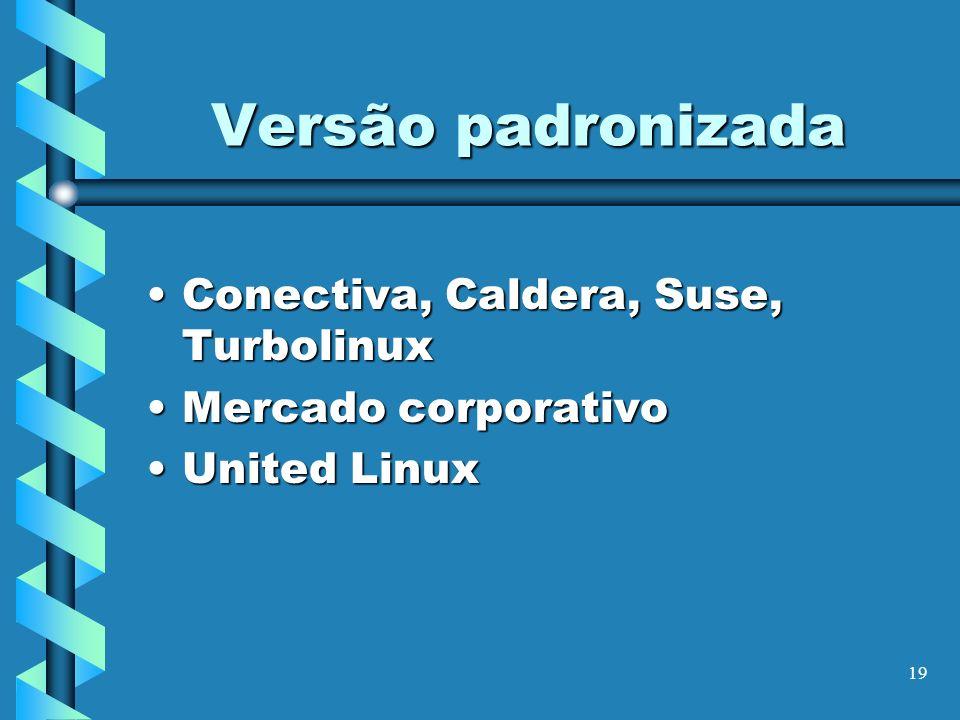 19 Versão padronizada Conectiva, Caldera, Suse, TurbolinuxConectiva, Caldera, Suse, Turbolinux Mercado corporativoMercado corporativo United LinuxUnit