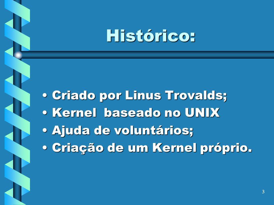 3 Histórico: Criado por Linus Trovalds;Criado por Linus Trovalds; Kernel baseado no UNIXKernel baseado no UNIX Ajuda de voluntários;Ajuda de voluntári