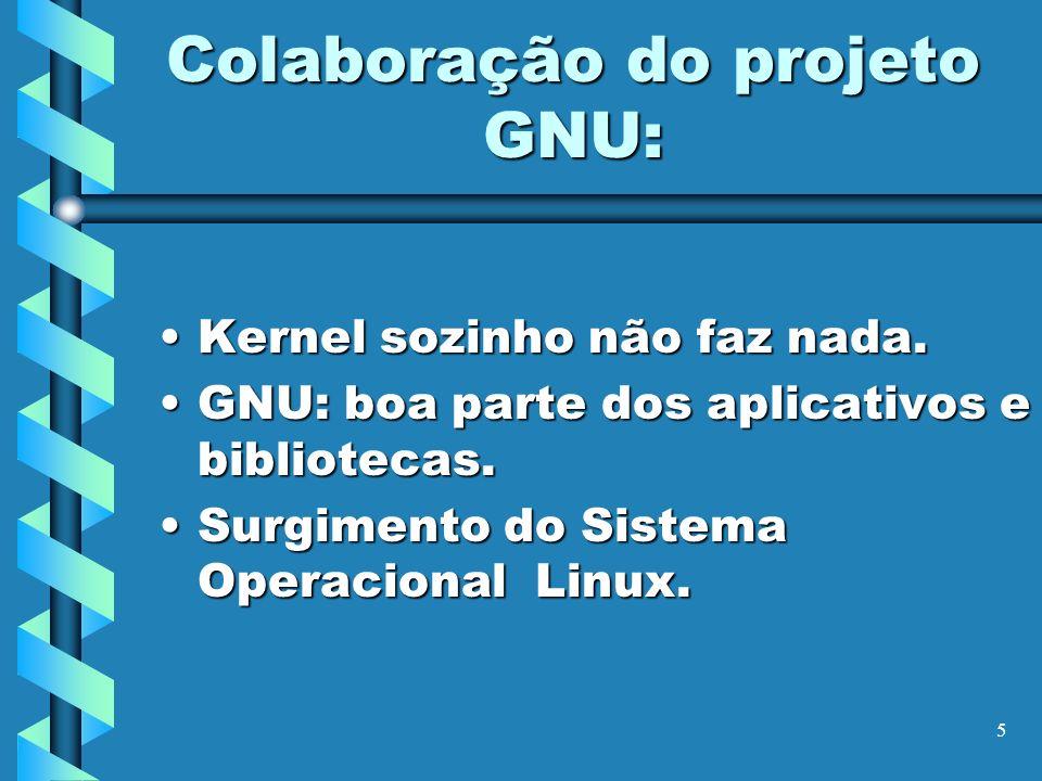 5 Colaboração do projeto GNU: Kernel sozinho não faz nada.Kernel sozinho não faz nada. GNU: boa parte dos aplicativos e bibliotecas.GNU: boa parte dos