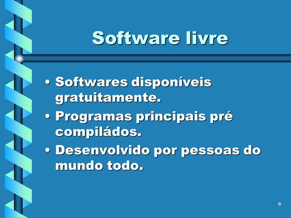 6 Software livre Softwares disponíveis gratuitamente.Softwares disponíveis gratuitamente. Programas principais pré compiládos.Programas principais pré