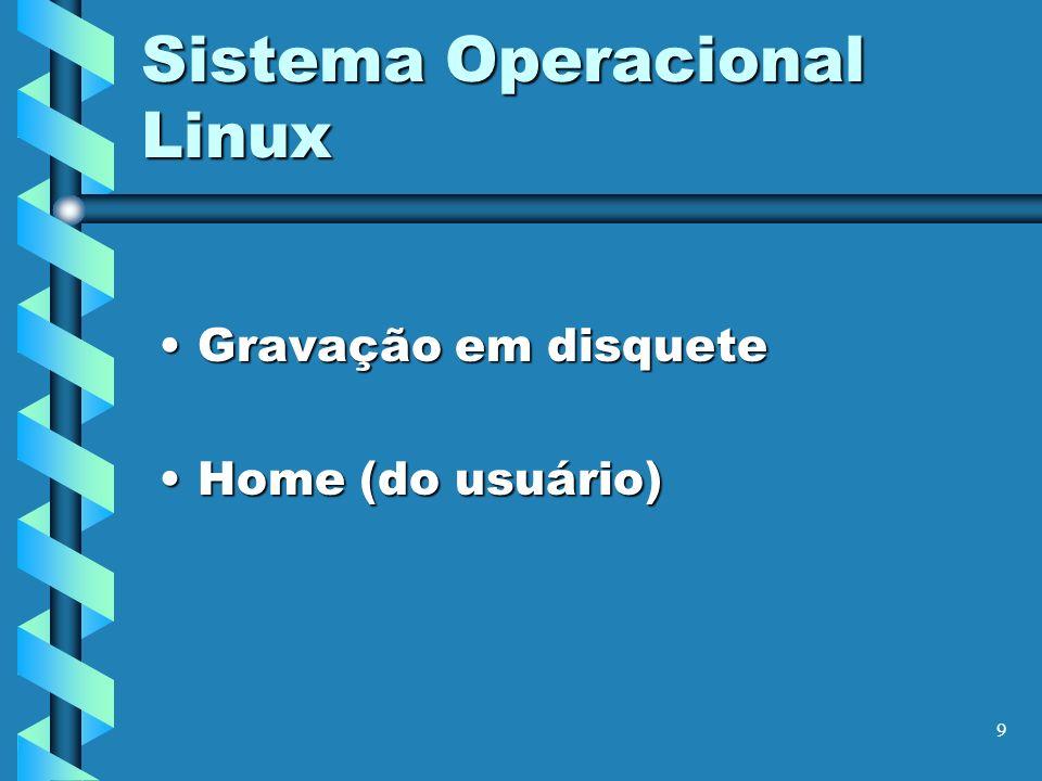 9 Sistema Operacional Linux Gravação em disqueteGravação em disquete Home (do usuário)Home (do usuário)