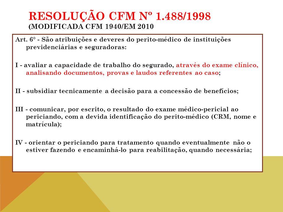 Art. 6° - São atribuições e deveres do perito-médico de instituições previdenciárias e seguradoras: I - avaliar a capacidade de trabalho do segurado,