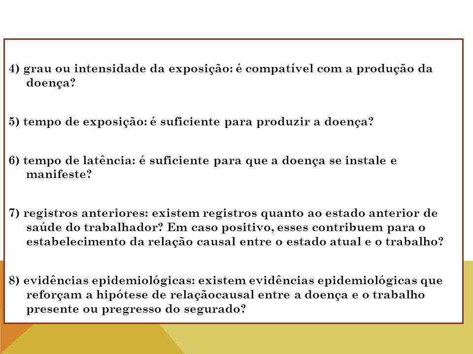 4) grau ou intensidade da exposição: é compatível com a produção da doença? 5) tempo de exposição: é suficiente para produzir a doença? 6) tempo de la