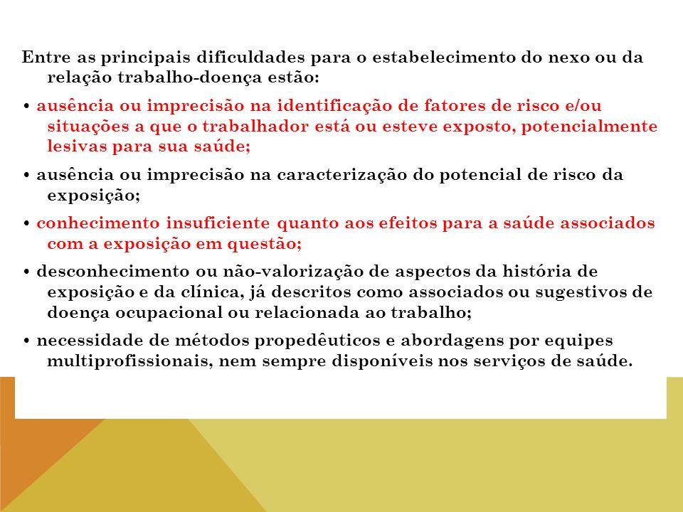 Entre as principais dificuldades para o estabelecimento do nexo ou da relação trabalho-doença estão: ausência ou imprecisão na identificação de fatore