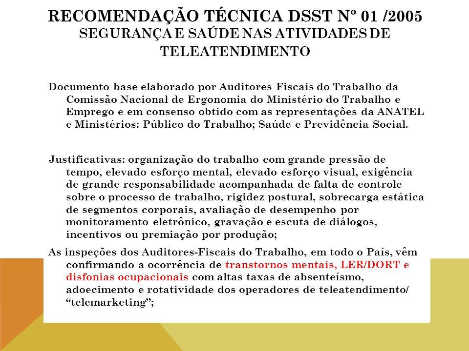 RECOMENDAÇÃO TÉCNICA DSST Nº 01 /2005 SEGURANÇA E SAÚDE NAS ATIVIDADES DE TELEATENDIMENTO Documento base elaborado por Auditores Fiscais do Trabalho d