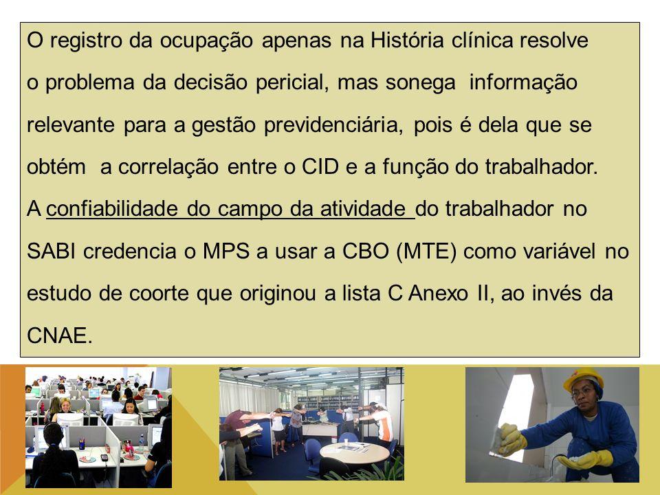 O registro da ocupação apenas na História clínica resolve o problema da decisão pericial, mas sonega informação relevante para a gestão previdenciária