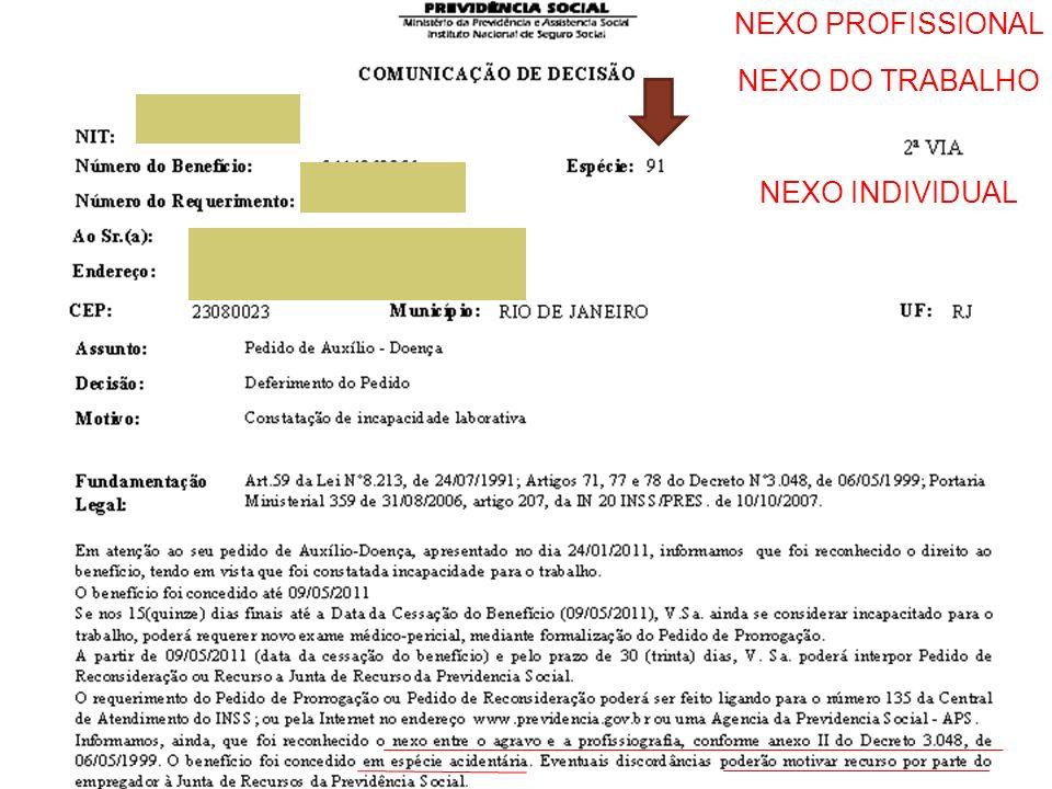 NEXO PROFISSIONAL NEXO DO TRABALHO NEXO INDIVIDUAL