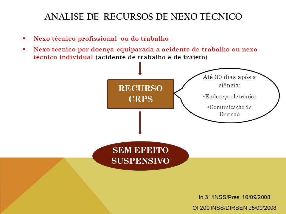 ANALISE DE RECURSOS DE NEXO TÉCNICO Nexo técnico profissional ou do trabalho Nexo técnico por doença equiparada a acidente de trabalho ou nexo técnico