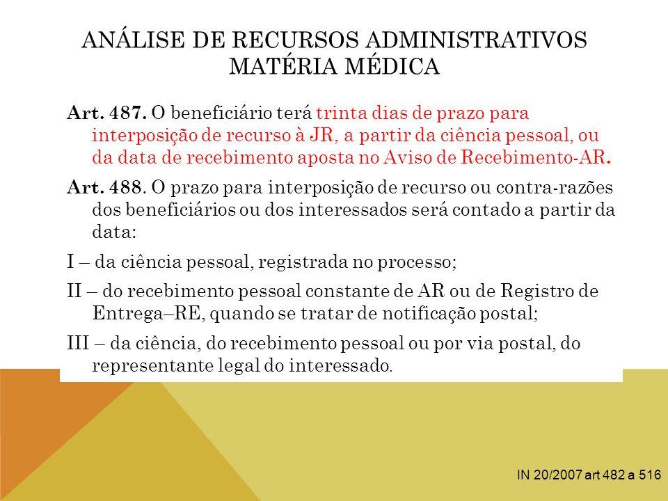 ANÁLISE DE RECURSOS ADMINISTRATIVOS MATÉRIA MÉDICA Art. 487. O beneficiário terá trinta dias de prazo para interposição de recurso à JR, a partir da c