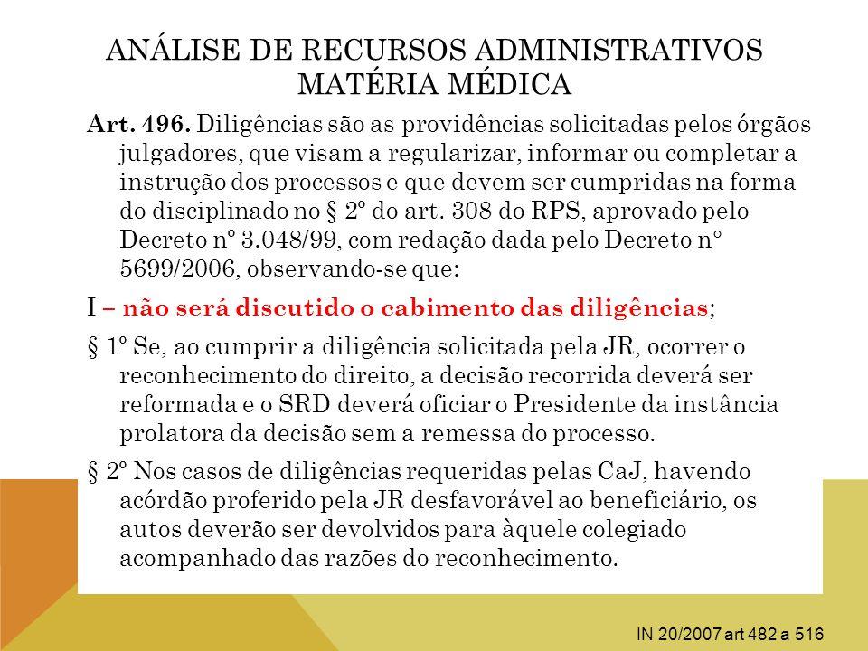 ANÁLISE DE RECURSOS ADMINISTRATIVOS MATÉRIA MÉDICA Art. 496. Diligências são as providências solicitadas pelos órgãos julgadores, que visam a regulari