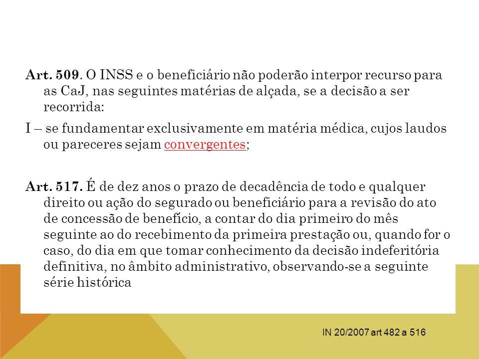 Art. 509. O INSS e o beneficiário não poderão interpor recurso para as CaJ, nas seguintes matérias de alçada, se a decisão a ser recorrida: I – se fun