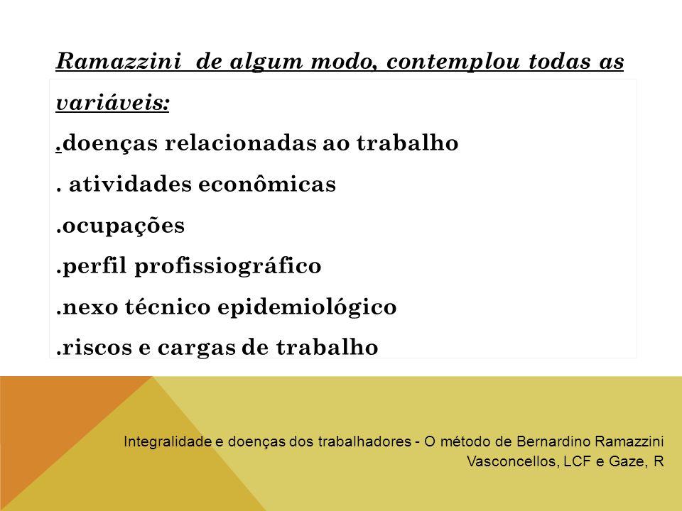 Ramazzini de algum modo, contemplou todas as variáveis:. doenças relacionadas ao trabalho. atividades econômicas.ocupações.perfil profissiográfico.nex