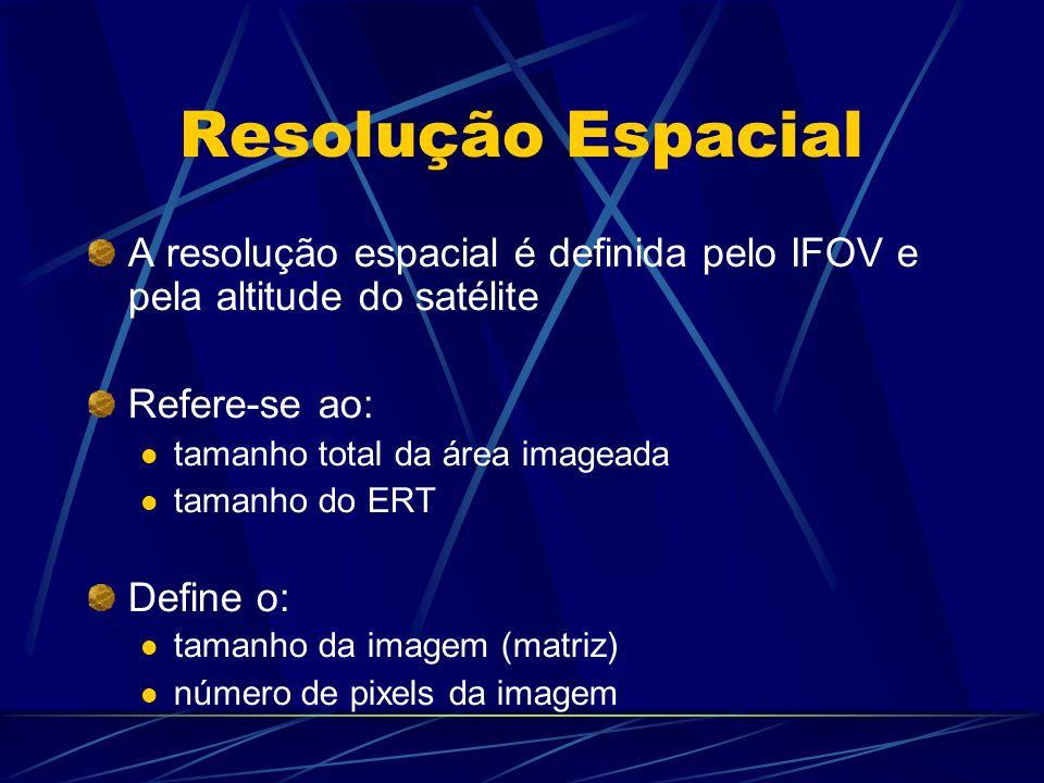 Relação entre Resolução Espacial e Temporal ETM+ : 16 dias (30 m) CCD: 26 dias (20 m) HRVIR : 26 dias (20 m) GOES: 30 minutos (700 m) SeaWiFS: 1 dia (1130m) Ikonos: 4 e 1m (programável)