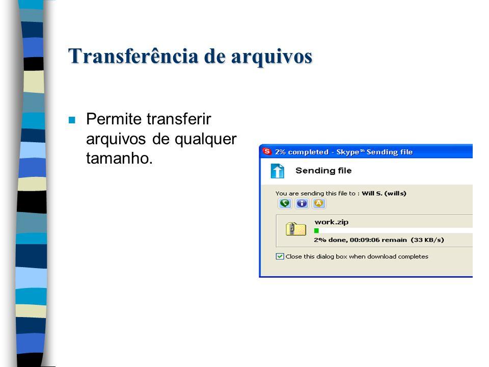 Transferência de arquivos n Permite transferir arquivos de qualquer tamanho.
