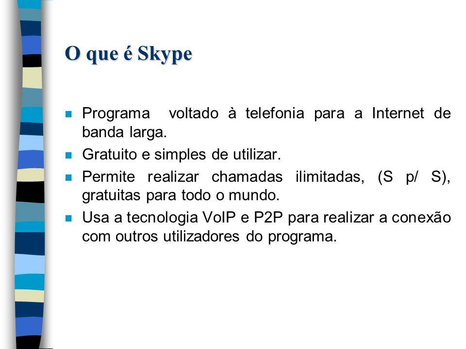 O que é Skype n Programa voltado à telefonia para a Internet de banda larga.