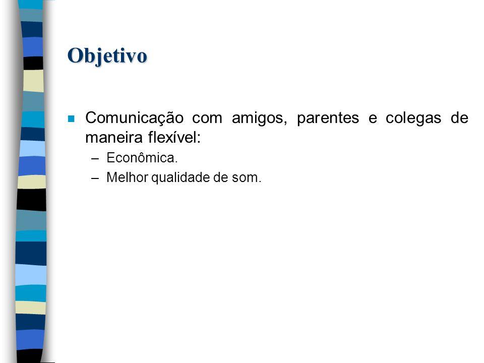 Objetivo n Comunicação com amigos, parentes e colegas de maneira flexível: –Econômica.