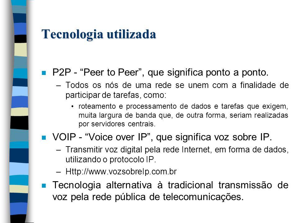 Tecnologia utilizada n P2P - Peer to Peer, que significa ponto a ponto.