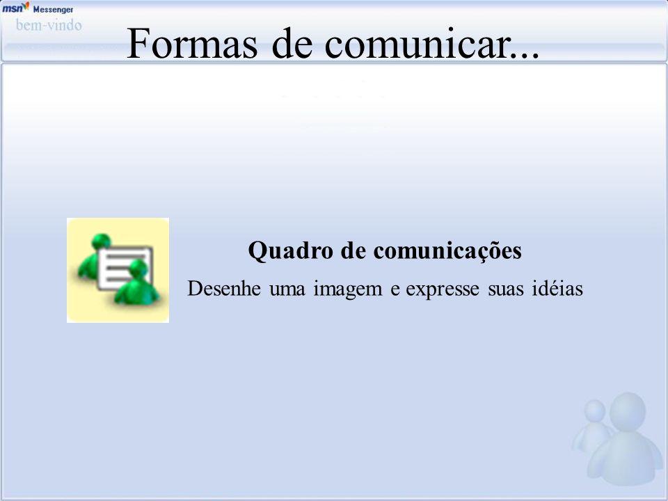 Formas de comunicar... Quadro de comunicações Desenhe uma imagem e expresse suas idéias