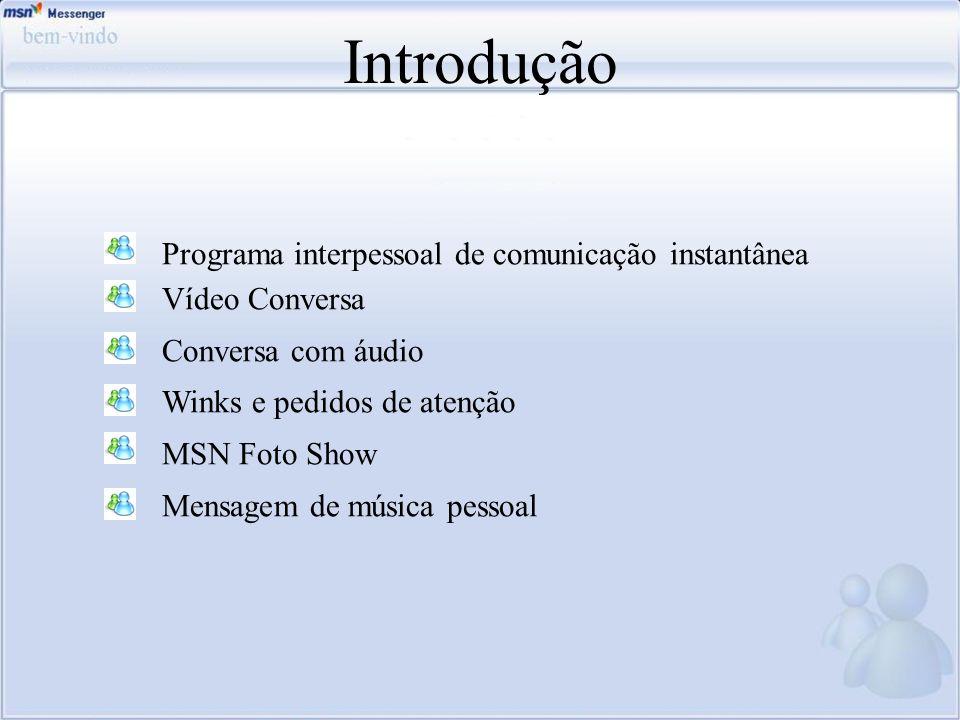 Introdução Programa interpessoal de comunicação instantânea Vídeo Conversa Conversa com áudio Winks e pedidos de atenção MSN Foto Show Mensagem de mús