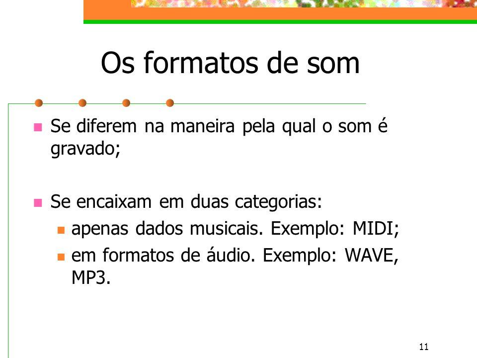 11 Os formatos de som Se diferem na maneira pela qual o som é gravado; Se encaixam em duas categorias: apenas dados musicais.