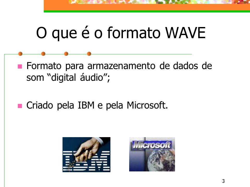 3 O que é o formato WAVE Formato para armazenamento de dados de som digital áudio; Criado pela IBM e pela Microsoft.