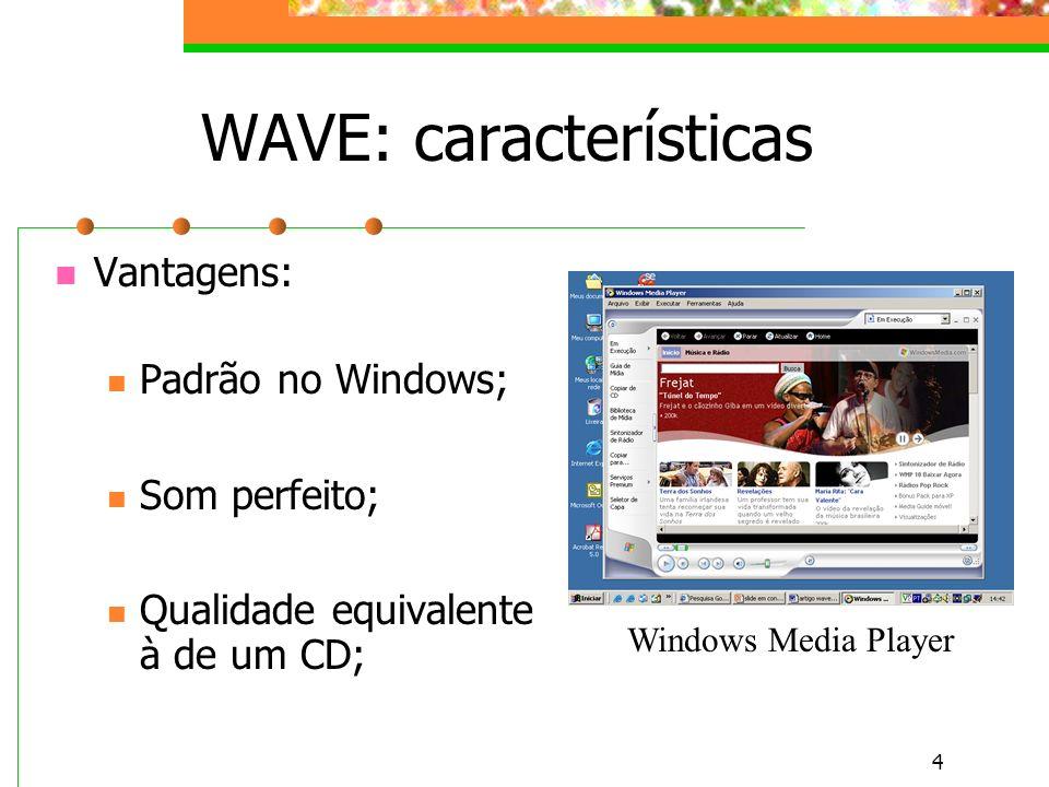 4 WAVE: características Vantagens: Padrão no Windows; Som perfeito; Qualidade equivalente à de um CD; Windows Media Player