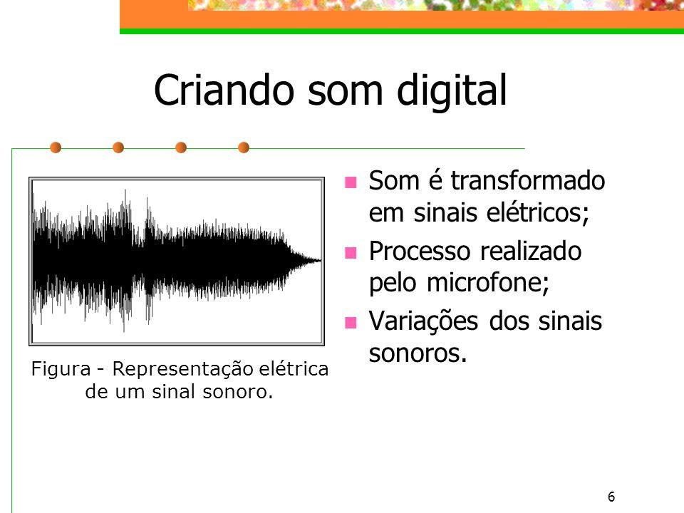6 Criando som digital Som é transformado em sinais elétricos; Processo realizado pelo microfone; Variações dos sinais sonoros.