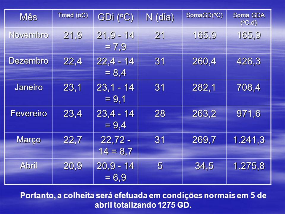 Mês Tmed (oC) GDi ( o C) N (dia) SomaGD( o C) Soma GDA ( o C.d) Novembro21,9 21,9 - 14 = 7,9 21165,9165,9 Dezembro22,4 22,4 - 14 = 8,4 31260,4426,3 Janeiro23,1 23,1 - 14 = 9,1 31282,1708,4 Fevereiro23,4 23,4 - 14 = 9,4 28263,2971,6 Março22,7 22,72 - 14 = 8,7 31269,71.241,3 Abril20,9 20,9 - 14 = 6,9 534,51.275,8 Portanto, a colheita será efetuada em condições normais em 5 de abril totalizando 1275 GD.
