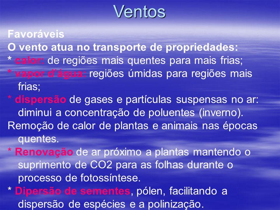 Ventos Favoráveis O vento atua no transporte de propriedades: * calor: de regiões mais quentes para mais frias; * vapor dágua: regiões úmidas para reg