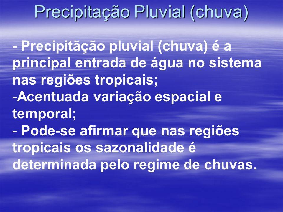 Precipitação Pluvial (chuva) - Precipitãção pluvial (chuva) é a principal entrada de água no sistema nas regiões tropicais; -Acentuada variação espacial e temporal; - Pode-se afirmar que nas regiões tropicais os sazonalidade é determinada pelo regime de chuvas.