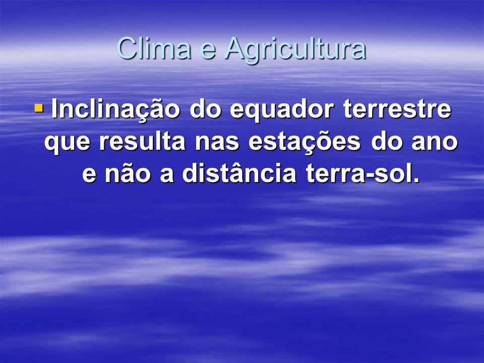 Clima e Agricultura Inclinação do equador terrestre que resulta nas estações do ano e não a distância terra-sol. Inclinação do equador terrestre que r