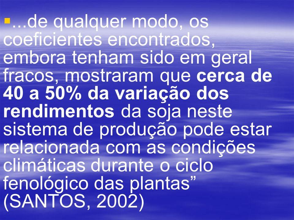 ...de qualquer modo, os coeficientes encontrados, embora tenham sido em geral fracos, mostraram que cerca de 40 a 50% da variação dos rendimentos da soja neste sistema de produção pode estar relacionada com as condições climáticas durante o ciclo fenológico das plantas (SANTOS, 2002)