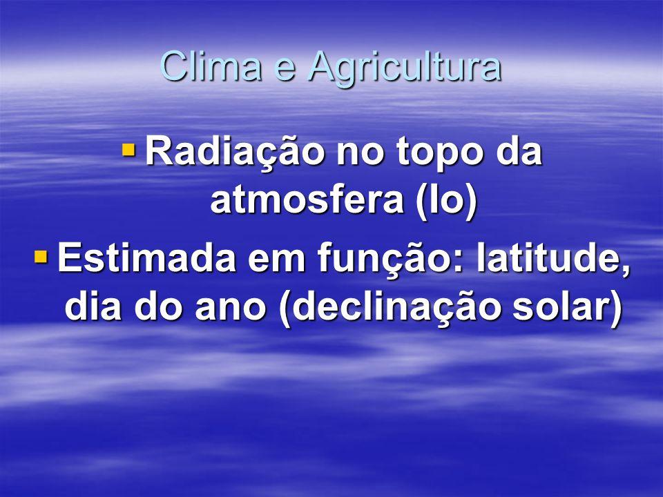 Clima e Agricultura Radiação no topo da atmosfera (Io) Radiação no topo da atmosfera (Io) Estimada em função: latitude, dia do ano (declinação solar) Estimada em função: latitude, dia do ano (declinação solar)