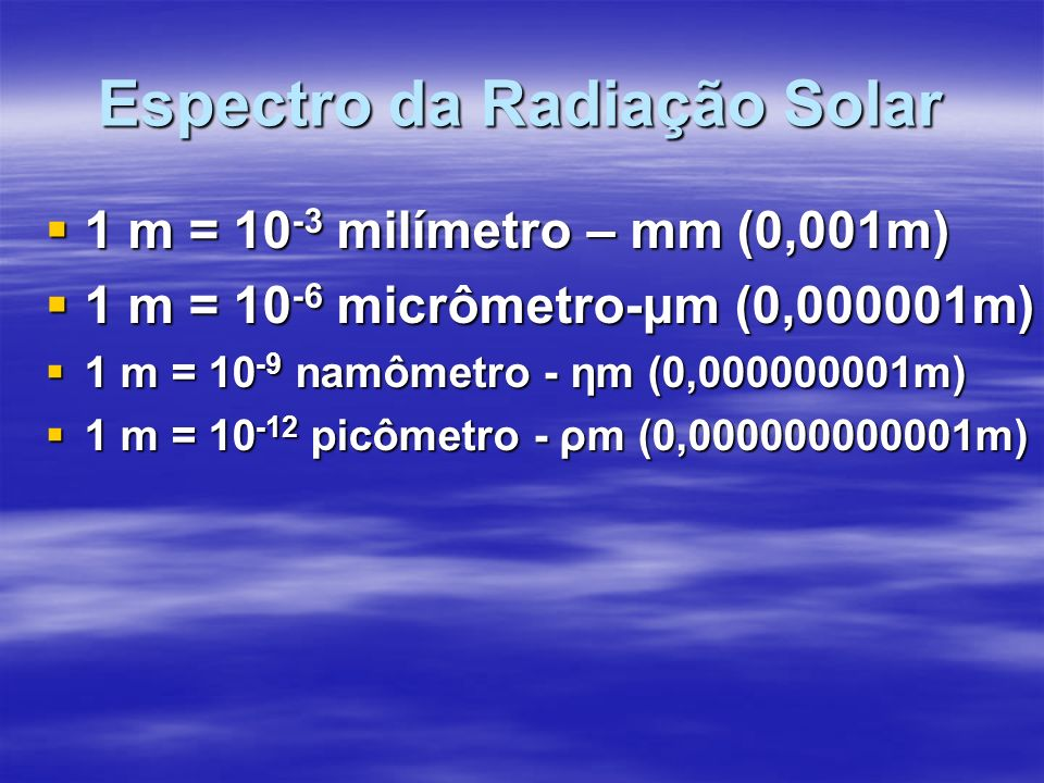 Espectro da Radiação Solar 1 m = 10 -3 milímetro – mm (0,001m) 1 m = 10 -3 milímetro – mm (0,001m) 1 m = 10 -6 micrômetro-μm (0,000001m) 1 m = 10 -6 micrômetro-μm (0,000001m) 1 m = 10 -9 namômetro - ηm (0,000000001m) 1 m = 10 -9 namômetro - ηm (0,000000001m) 1 m = 10 -12 picômetro - ρm (0,000000000001m) 1 m = 10 -12 picômetro - ρm (0,000000000001m)
