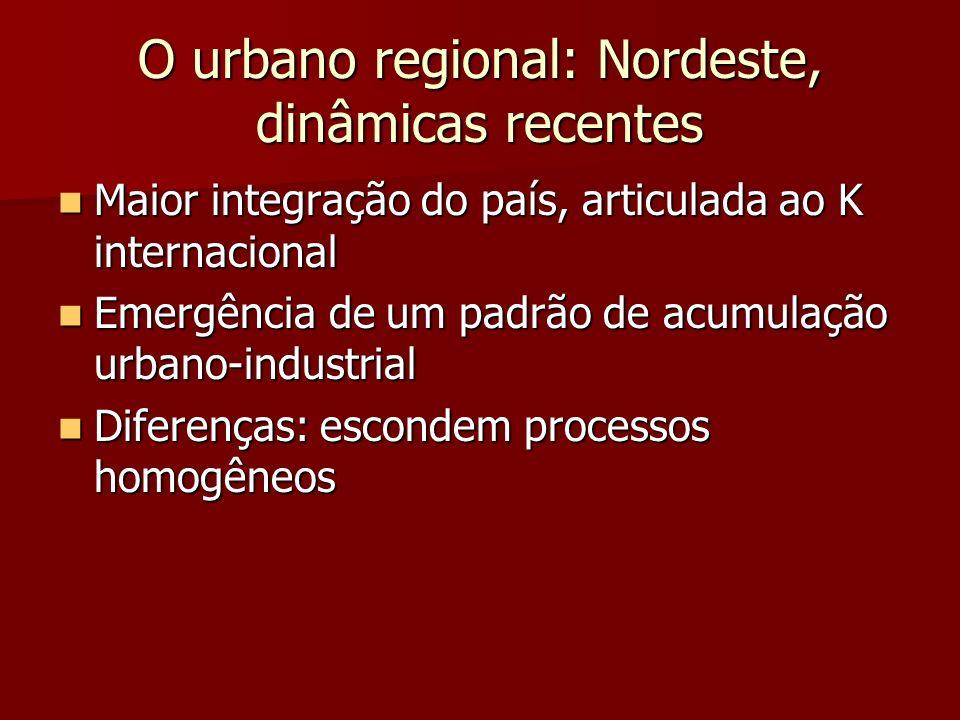 O urbano regional: Nordeste, dinâmicas recentes Maior integração do país, articulada ao K internacional Maior integração do país, articulada ao K inte