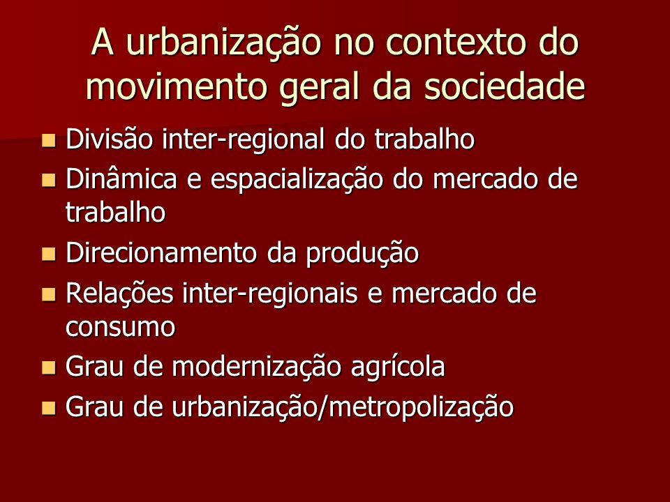 Processos espaciais em curso Aumento da urbanização Aumento da urbanização Mudanças na qualidade da urbanização Mudanças na qualidade da urbanização Processos complementares: metropolização x desmetropolização Processos complementares: metropolização x desmetropolização