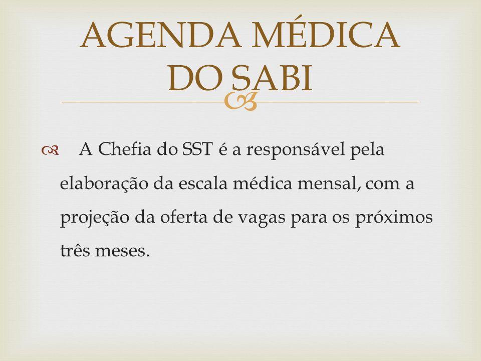 A Chefia do SST é a responsável pela elaboração da escala médica mensal, com a projeção da oferta de vagas para os próximos três meses. AGENDA MÉDICA