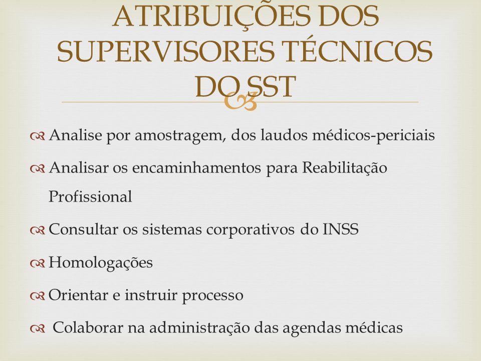 Analise por amostragem, dos laudos médicos-periciais Analisar os encaminhamentos para Reabilitação Profissional Consultar os sistemas corporativos do