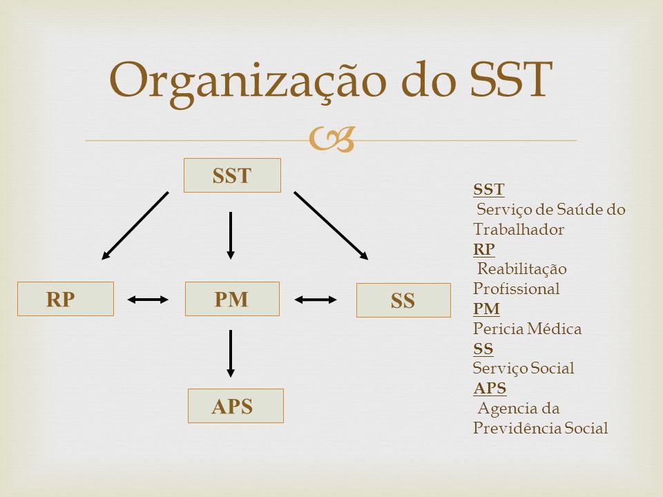 Organização do SST SST RP APS SS PM SST Serviço de Saúde do Trabalhador RP Reabilitação Profissional PM Pericia Médica SS Serviço Social APS Agencia d