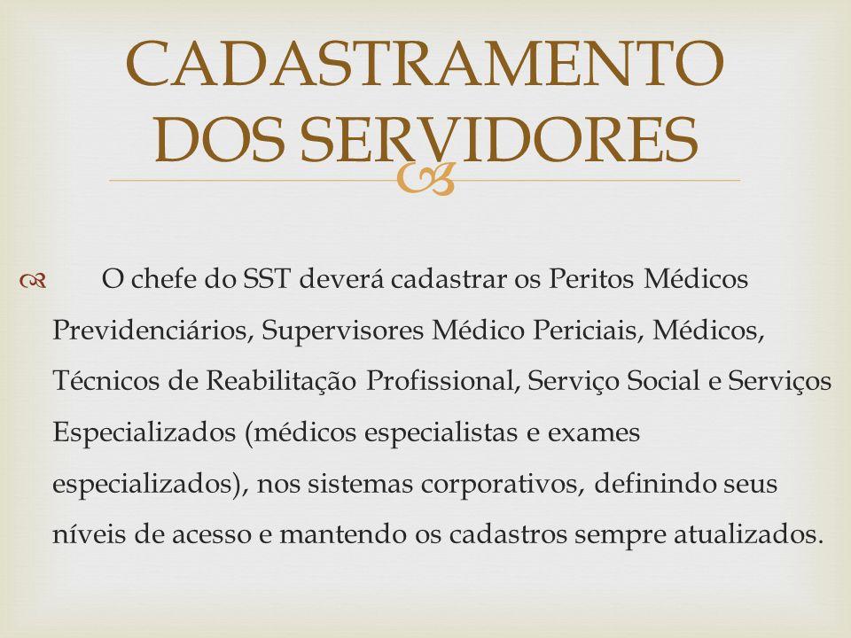 O chefe do SST deverá cadastrar os Peritos Médicos Previdenciários, Supervisores Médico Periciais, Médicos, Técnicos de Reabilitação Profissional, Ser
