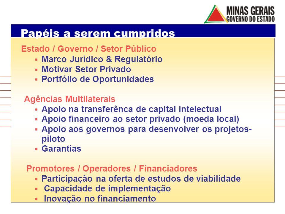 Papéis a serem cumpridos Estado / Governo / Setor Público Marco Jurídico & Regulatório Motivar Setor Privado Portfólio de Oportunidades Agências Multi