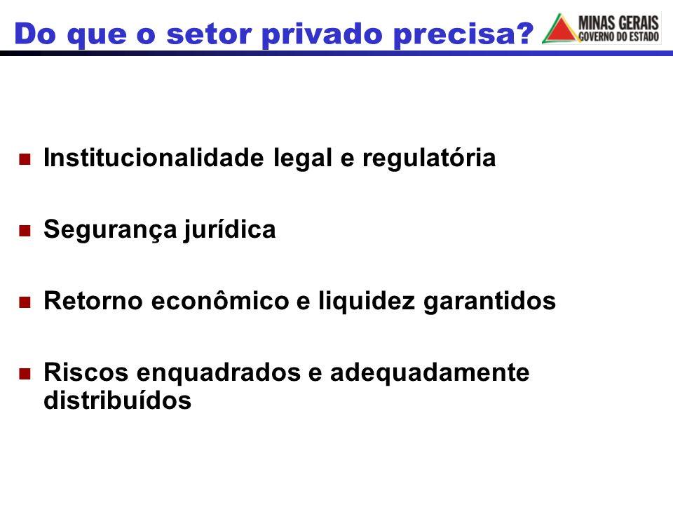 Institucionalidade legal e regulatória Segurança jurídica Retorno econômico e liquidez garantidos Riscos enquadrados e adequadamente distribuídos Do que o setor privado precisa